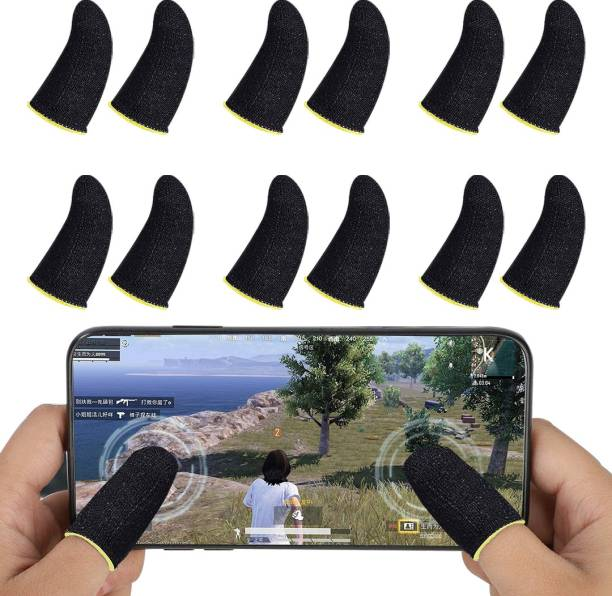 MOOZMOB Universal Size Set of 12 Mobile Gaming PUBG Finger Sleeves for Free Fire Playing Finger Sleeve