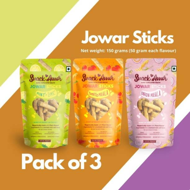 Snack Amor 3 Unique Flavors of Jowar Sticks Multigrain Puffs - Onion Masala, Tomato Masala and Mint and Lime, 100% Vegetarian Product ( Combo Pack of 3, 50 Grams Each )