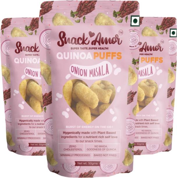 Snack Amor Quinoa Puffs Flavors of Onion Masala 100% Roasted & Healthy Snack, No Maida, Rich in Protein, 100% Vegetarian Product ( Pack of 3, 50 G Each Pack ) Quinoa