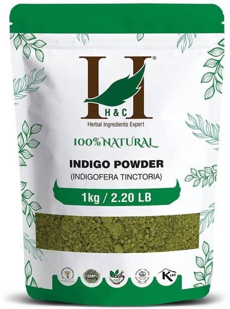 H&C Natural Indigo Leaf Powder For Herbal Hair Color Black 1kg / 2.20 LB