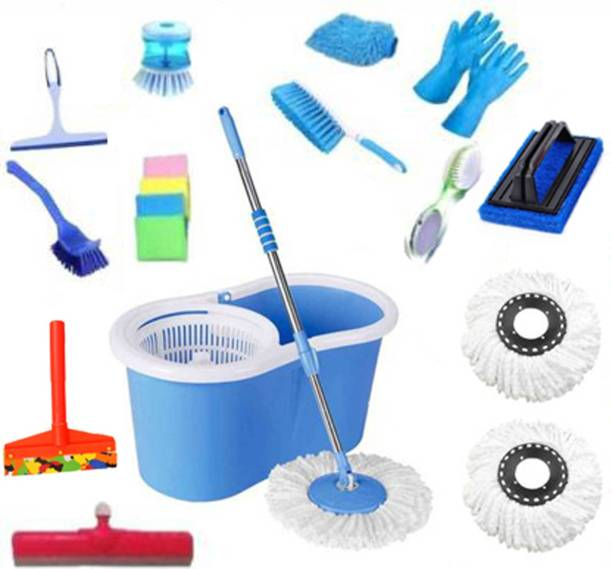 CREZON EXCLUSIVE House hold cleaning bucket mop set combo with 3 Refills and 11 Different Accessories, 360 Degree Self Spin Wringing Magic Bucket Mop Cleaning Brush, Toilet Brush, Scrub Pad, Cleaning Cloth, Glove, Mop, Cleaning Wipe, Bucket, Mop Set, Floor Wiper, Mop Refill