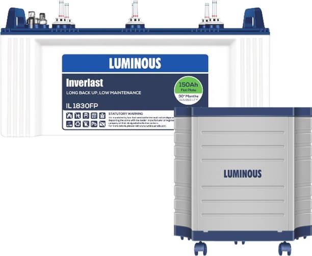 LUMINOUS Inverlast IL1830FP 150 AH Flat Plate Battery With ToughX TX100L Trolley Flat Plate Inverter Battery