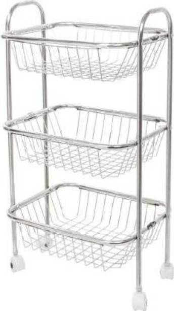WAYMORE 3 Layer Fruit and Vegetable Basket Stainless Steel Kitchen Trolley