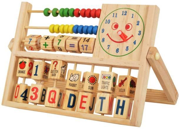 GOLDEN-BRIGHT Abacus Calculation Flap & Alphabets Numbers Words in Smiling Clock with Math Counting Addition Kids Multifunctional Toys