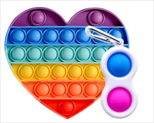 BONIRY Push Pop Bubble Fidget Sensory Toy - 1 Pcs Simple Dimple Pop its Fidget Toy & Love Rainbow