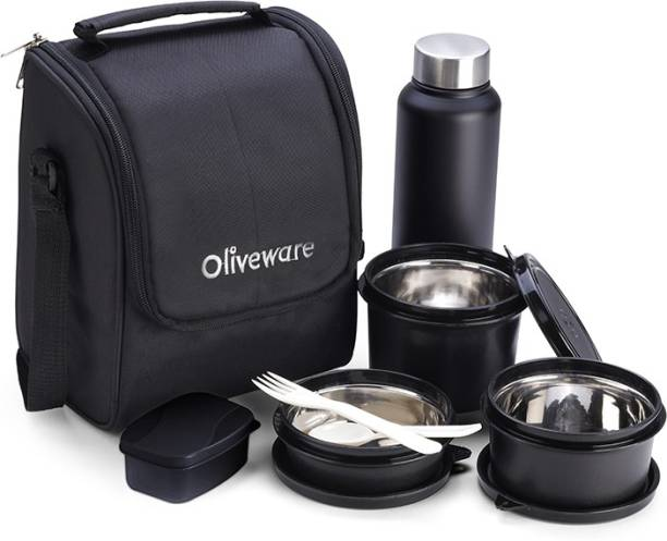 Oliveware Premium Lunch Box with Bottle - Black | 3 Stainless Steel Containers + Pickle Box & Asorted Steel Bottle | School, College & Office | Insulated Fabric Bag | Leak Proof & Microwave Safe | Full Meal & Easy to Carry 3 Containers Lunch Box