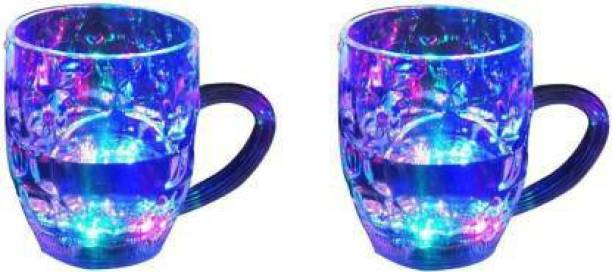 Thakran Magic Color Cup with LED Light Party (250 ml)pack of 2 Glass Mason Jar