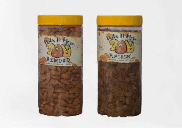 Nuts N More Almonds and Raisins DRY FRUITS COMBO, PREMIUM BADAM AND KISHMISH PACK ( 250 X 2 ) 500 GM Almonds, Raisins