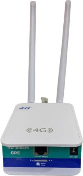 HANUTECH 4G Wifi Router WiFi 4G Dongle Device, Support All sim Cards, Support DVR, NVR, WiFi Camera Mobile Hotspot WAN & LAN Port 5Dbi Dual External Antennas Gateway with Sim Card Slot (Airtel, VI, Jio) 150 Mbps 4G Router
