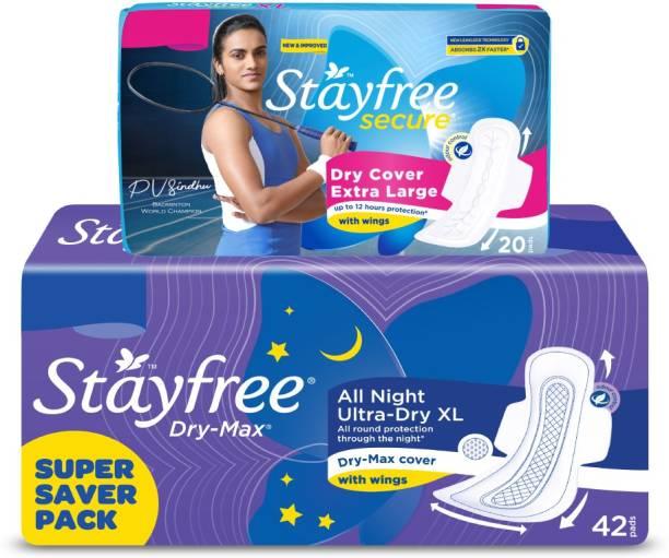 STAYFREE Dry-Max All Night XL, Dry XL Sanitary Pad