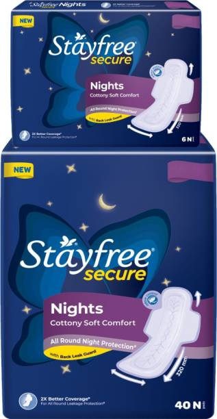 STAYFREE Secure Nights sanitary pads for women, cottony cover with 100% leakage protection, 2x coverage for worry free sleep, 46 pads Sanitary Pad