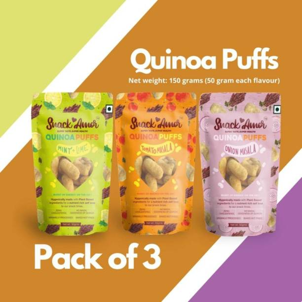 Snack Amor Unique Flavors of Quinoa Multigrain Puffs - Onion Masala, Tomato Masala and Mint and Lime, 100% Vegetarian Product ( Combo Pack of 3, 50 Grams Each )
