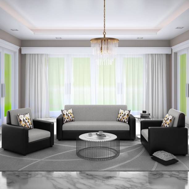 Bharat Lifestyle Leatherette 3 + 1 + 1 Grey Black Sofa Set