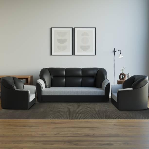 WESTIDO Cyrus Leatherette 3 + 1 + 1 Black Grey Sofa Set