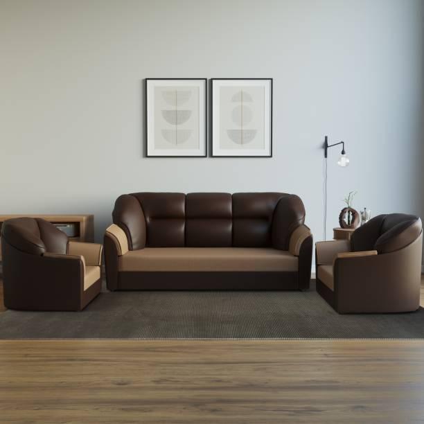 WESTIDO Cyrus Leatherette 3 + 1 + 1 Brown Cream Sofa Set