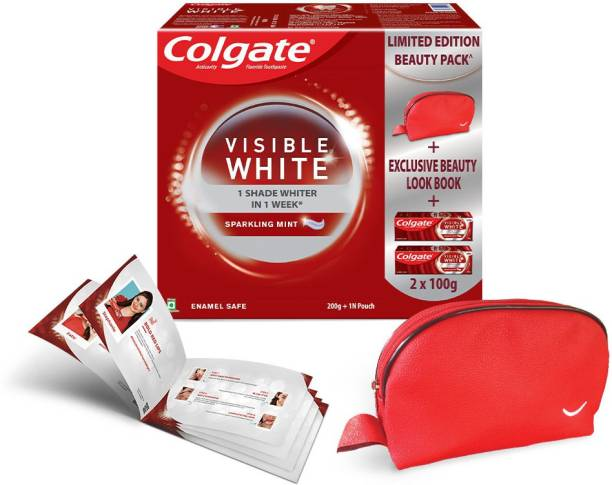 Colgate Visible White Teeth Whitening Toothpaste Limited Edition with Beauty bag Look book curated by top beauty influencers1N Beauty Pouch 1N Look book Toothpaste