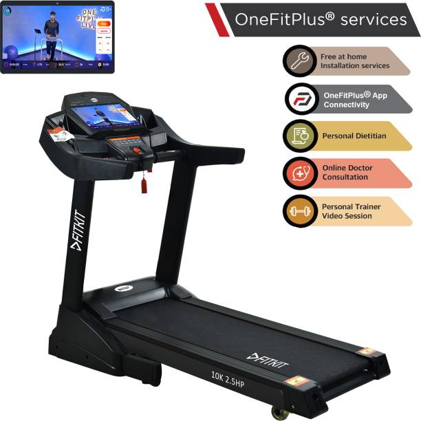 FITKIT 10K 2.5HP CCC Certified Motorised with Max Weight 120Kg Free Home Installation & 1 Year OneFitPlus Membership Treadmill