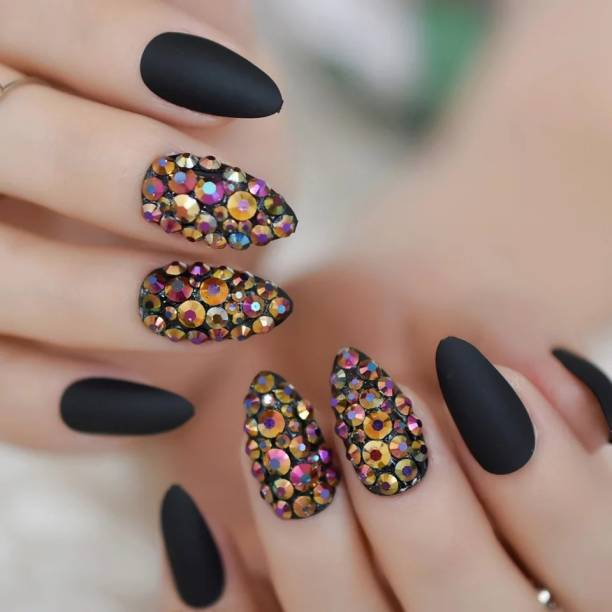business venture 12 PC/Set Designer Reusable BALCK STONES Matte with Stones Artificial Nail/Nails with glue.Rhinestones Nail extension tips black
