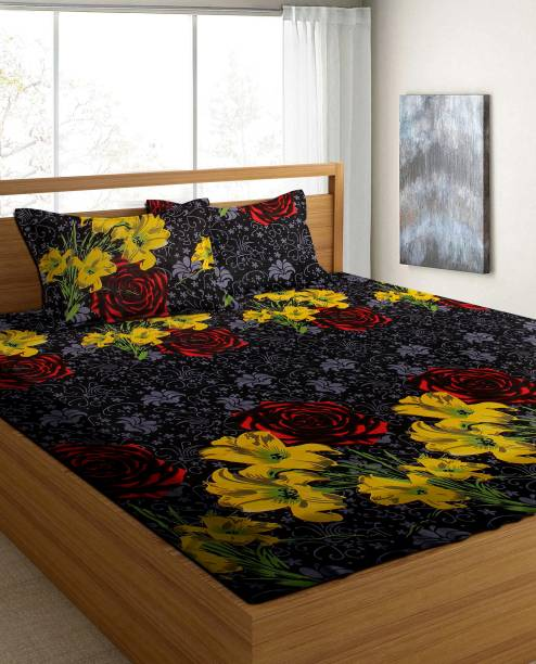 Flipkart SmartBuy 120 TC Microfiber Double Floral Bedsheet