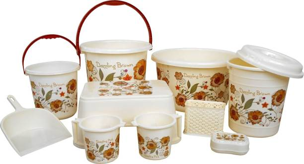 Sunlight Present high quality unbreakable Flower printed Balti 15.0 Ltr, Plastic Bucket 20.0 Ltr, Small Balti 5.0 Ltr, Round Waste Container 7.0 Ltr with Lid, 2 pcs of Mug 1.0 Ltr, Soap Dish, Comfort Stool, Cutlery Stand and dustpan Cream 49 L Plastic Bucket