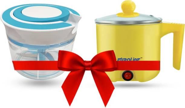 EUROLINE EL-100 Multifunction Cooker (Yellow) & Chopper Travel Cooker, Egg Cooker, Rice Cooker