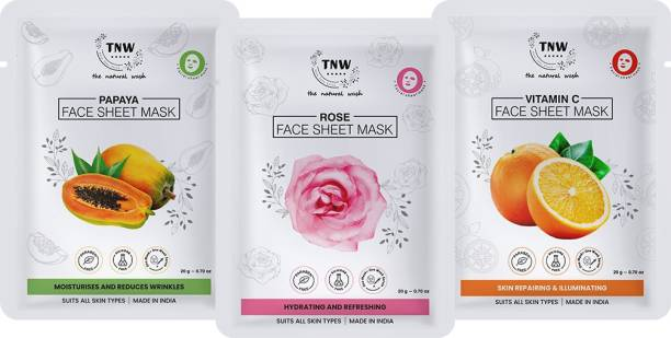 TNW - The Natural Wash Rose, Papaya and Vitamin C face sheet masks to give you instantly hydrated, nourished, repaired, radiant and supple skin