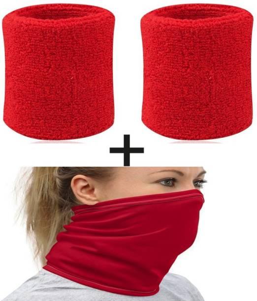 Play2Fit 2 pcs Terry Soft Sweatband & 1 PC Neck gaiter/Bandana/Headband/Neck Warmer Fitness Band