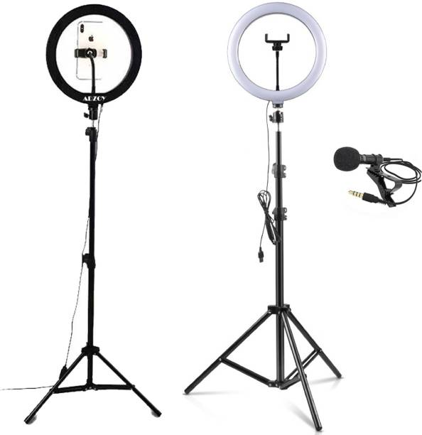 """ADZOY Premium 10"""" Selfie Light with 6.9ft Tripod with Collar Mic Ring Flash"""