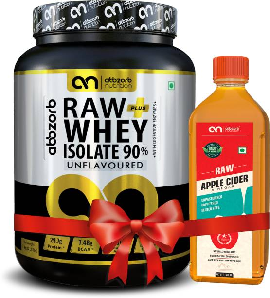 Abbzorb Nutrition Raw + Whey Isolate 90% (With Digestive) +Apple Cider Combo Combo