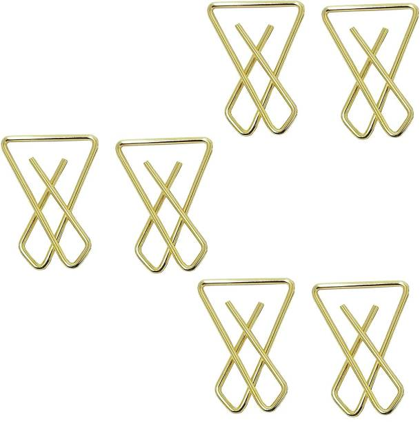 High Profile Premium Quality Safety Saree Hijab Patli Lock Cross Brooch Pin Gold Plated Good Grip Metal Golden, Large, for Women/Girls (Pack of 6) Back Pin