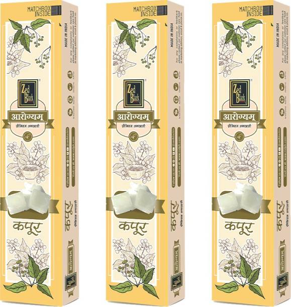 Zed Black Aarogyam Camphor Incense Sticks Kapoor Incense Stick   No Charcoal   Camphor Scented Pooja Aroma Sticks to Purify Your Surroundings - Pack of 3 Camphor (Kapoor)
