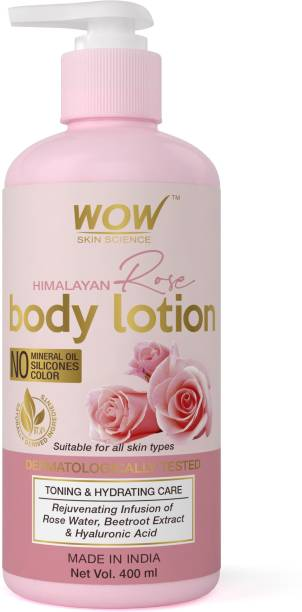 WOW SKIN SCIENCE Himalayan Rose Body Lotion -Toning & Hydrating - with Rose Water, Beetroot Extract - No Mineral Oil, Silicones & Color - 400mL