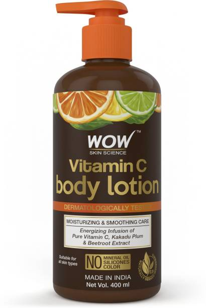 WOW SKIN SCIENCE Vitamin C Body Lotion - Non Sticky & Non Greasy - Moisturising & Smoothening Care - with Vitamin C, Kakadu Plum - No Mineral Oil, Silicones & Color - 400mL