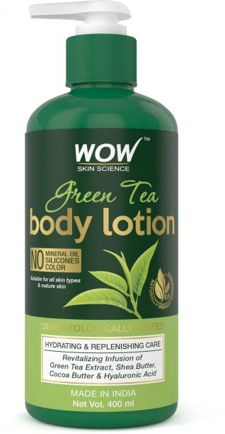 WOW SKIN SCIENCE Green Tea Body Lotion - Hydrating & Replenishing - with Green Tea Extract, Shea Butter - No Mineral Oil, Silicones & Color - 400mL