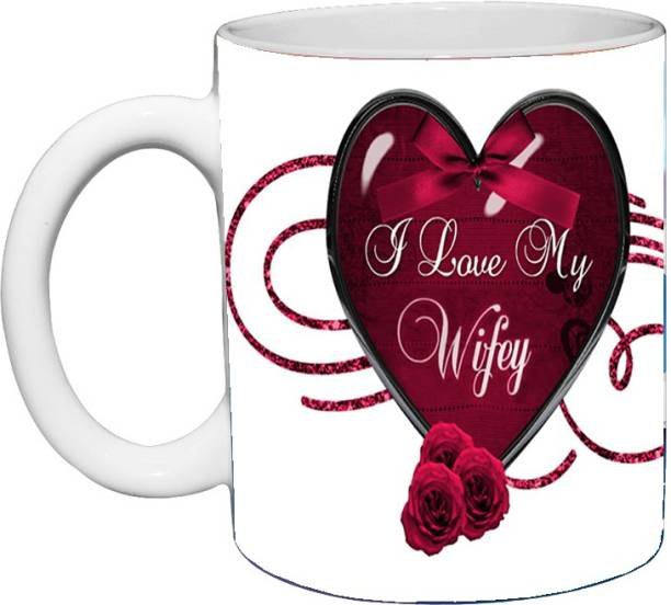 Murli Textiles I Love My Wifey Ceramic Printed Coffee mug (350ml) Ceramic Coffee Mug