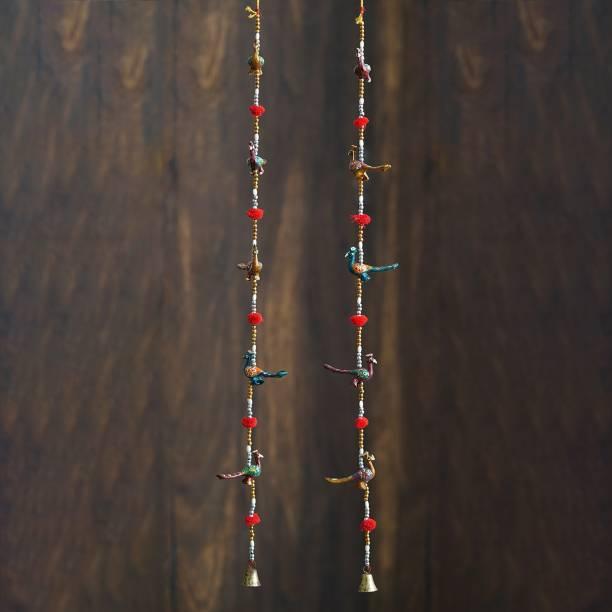 eCraftIndia Rajasthani Handcrafted Peacock Door Hanging Home Decor- Set of 2 ... Decorative Showpiece  -  96 cm