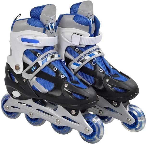 WiseWalker Skating Shoes Premium Quality & Adjustable Different Size With Light In Wheels Skates In-line Skates - Size 6-9 UK