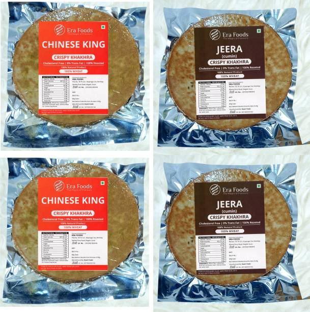 Era Foods Khakhara (Combo of 4) Chinese King and Jeera Each pack of 200gm.