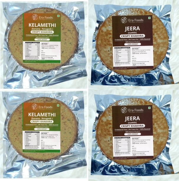 Era Foods Khakhara (Combo of 4) Kalamethi and Jeera Each pack of 200gm.