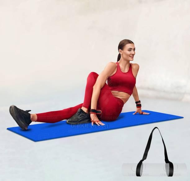 Unique Decor Yoga mat(Carry Strap) For Exercise of Women and Men Purple & Anti Slip Texture Sports, Fitness & Outdoors, Exercise mat (Qnty-1 Pcs)(Color-Blue) 6 mm Yoga Mat