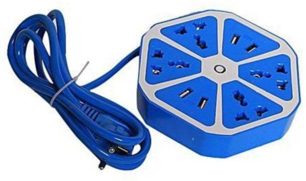 Blue Birds Multipurpose Hexagon Shape Electrical Extension Board,Multiplug Extension Board with 4 USB Charging Ports & 4 Plug Sockets for Multiple Devices 4  Socket Extension Boards