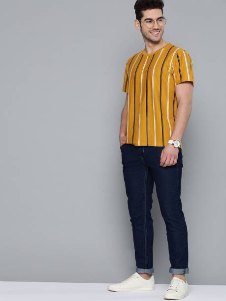 MAST & HARBOUR Striped Men Round Neck Yellow T-Shirt