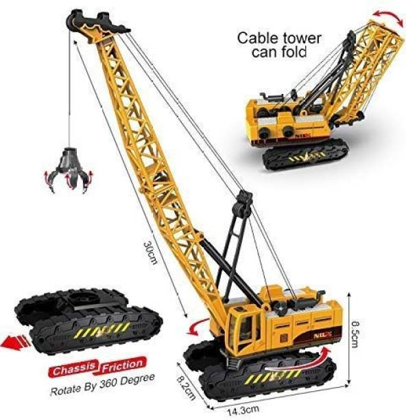 ATRI Construction ClampsLongCraneTrucks Rotate by 360 Degree JCB Toy Loader JCB Toy and Excavator Vehicle Engineering Toy for 3 Years and Above Age Toddlers ,High Speed Friction Excavator toy for boys toy for kids toy for children push and pull along toy toy cars and trucks