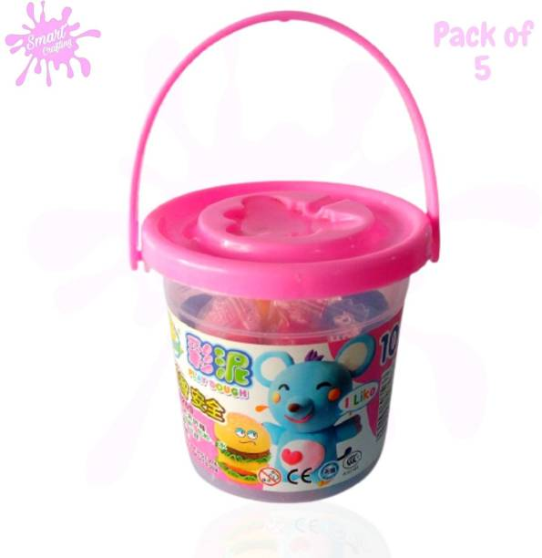 SmartCrafting Bucket Kinetic Beach moldable Magic Play Clay Sand Dough Activity Toys Set and Different molds for Kids Children Indoor Outdoor Games Art Clay