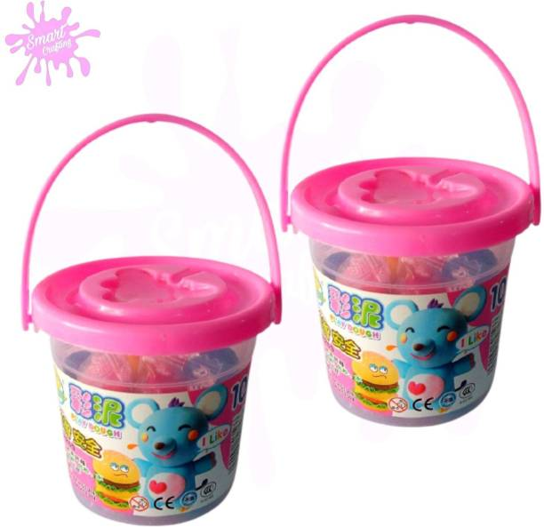 SmartCrafting Combination of Bouncing Clay with Tools for Kids and Art & Craft & Fun Bucket Clay 12 Colors Art Clay