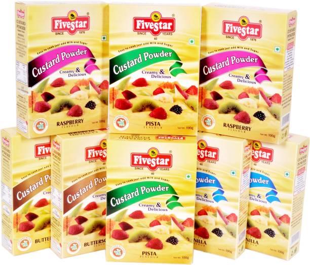 Five Star Custard Powder Mix 2 Raspberry 2 Vanilla 2 Pista 2 Butter Scotch Combo (100g x 8) Custard Powder