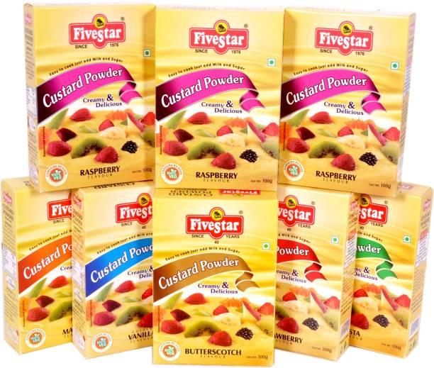 Five Star Custard Powder Mix Vanilla Strawberry Mango Pista Butter Scotch 3 Raspberry Combo (100g x 8) Custard Powder