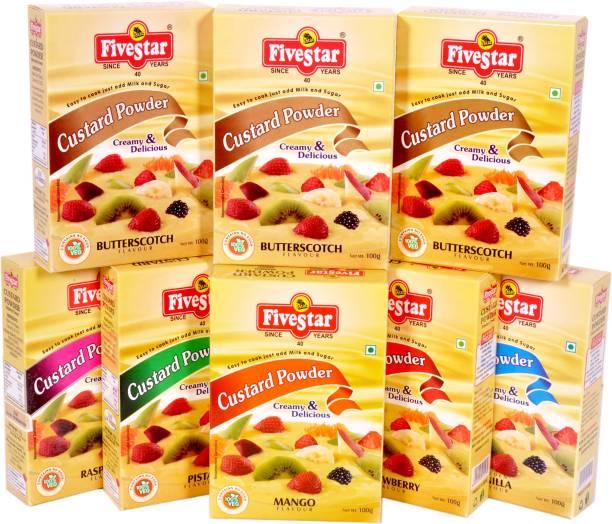 Five Star Custard Powder Mix Raspberry Strawberry Mango Pista Vanilla 3 Butter Scotch Combo (100g x 8) Custard Powder