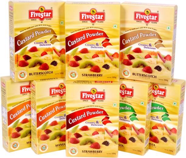 Five Star Custard Powder Mix 2 Strawberry 2 Mango 2 Pista 2 Butter Scotch Combo (100g x 8) Custard Powder