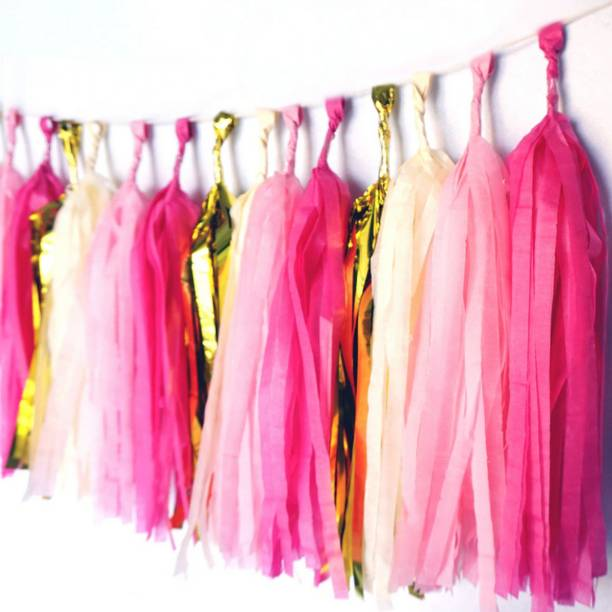 AMFIN AMFIN® (20 Pcs , 4.2 m) Tissue Paper Tassels Garland Wedding Home Decor Crafts for Birthday Decoration , Decoration for Weddings , Engagement , Baby Shower Decoration Items , 1st Birthday Party Decoration Items , Anniversary Party , Bachelors Party , Office Party , Diwali , New Year Party , Christmas Decoration Items - Pink & Green Pennant Flag